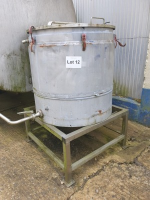 350 Litre Stainless Steel Insluated Tank with Hinged Lid on Stand 1500 mm High x 1000 mm Diameter