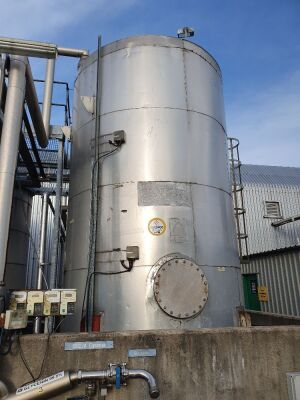 27,000 Litre 316 Stainless Steel Vertical Cylindrical Insulated Tank with Side Mounted Agitator
