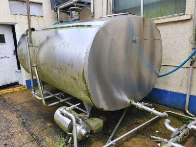 Alfa Laval 5,000 Litre Stainless Steel Insulated and Chilled Horizontal Tank with Top Mounted Agitator 3000 mm x 1850 mm x 1700 mm High