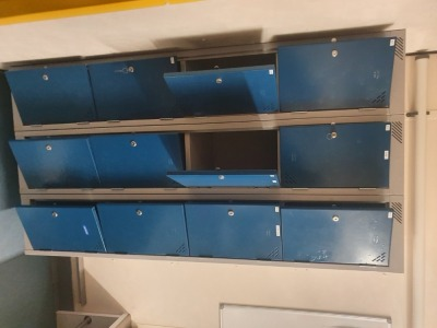 11 off Twin Door Wall Mounted Personnel Lockers
